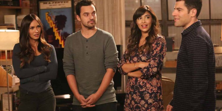 """NEW GIRL:  L-R:  Guest star Megan Fox, Jake Johnson, Hannah Simone and Max Greenfield in the """"Wig"""" episode of NEW GIRL airing Tuesday, Feb. 16 (8:00-8:30 PM ET/PT) on FOX.  ©2016 Fox Broadcasting Co.  Cr:  Adam Taylor/FOX"""