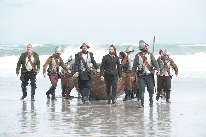 "Vincent Kartheiser as William Bradford, center, in National Geographic Channel's two-night movie event ""Saints & Strangers,"" premiering Nov. 22-23, 9/8c.  William Bradford is the colony's moral compass. He would eventually serve as long-time governor of Plymouth Colony."