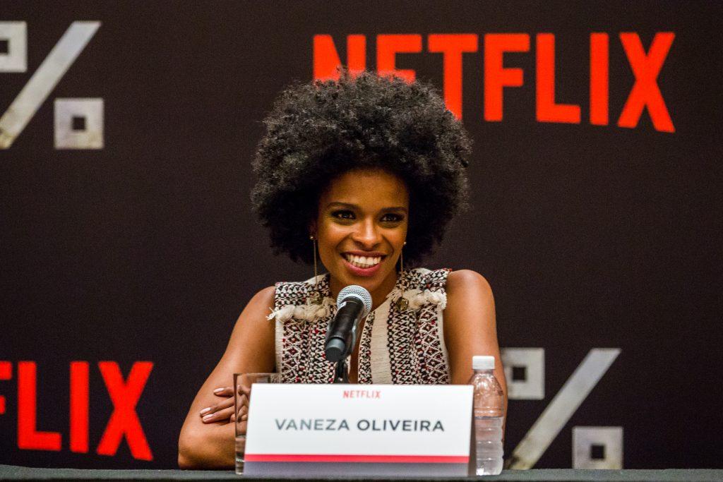 Netflix 3% S1, Press Coference 2016. (Pedro Saad / Netflix) Vaneza Oliveira