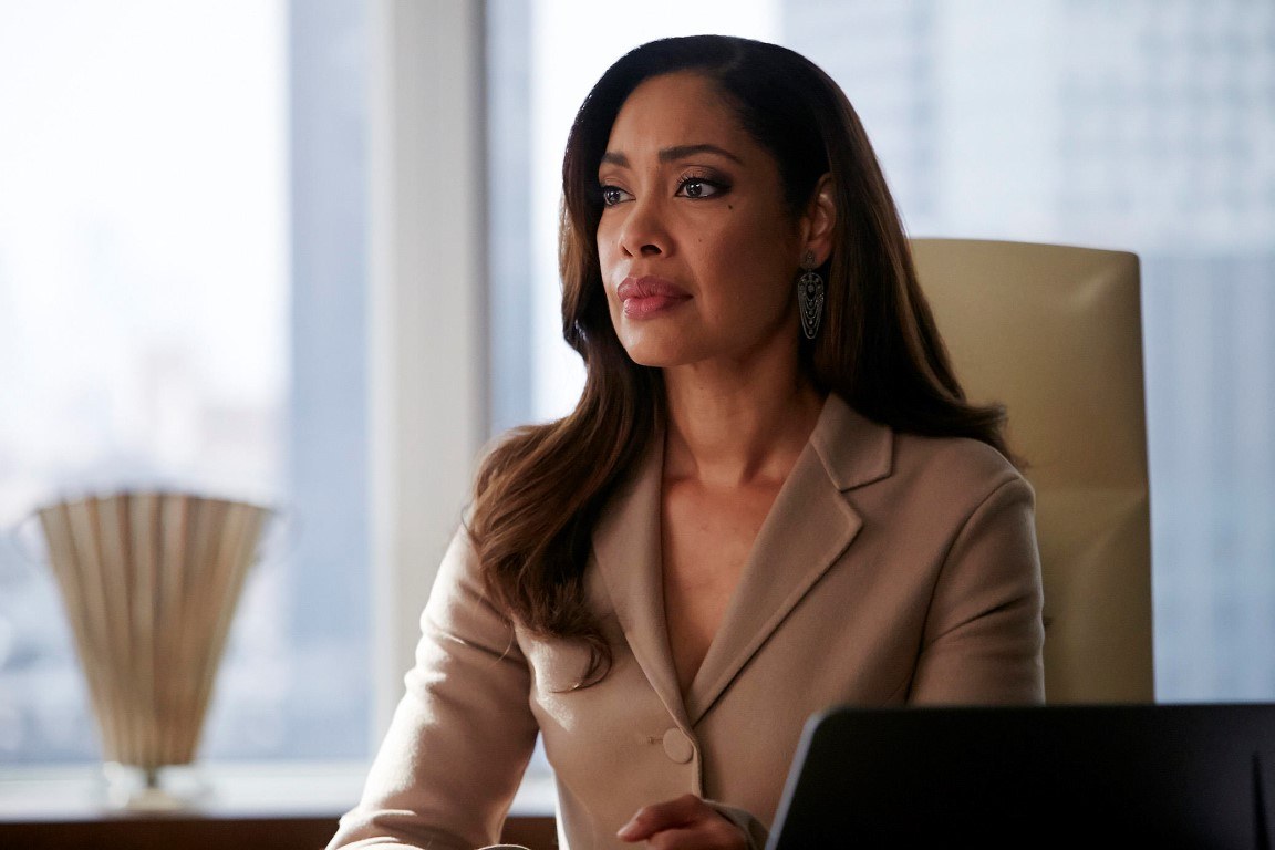 "SUITS -- ""The Hand That Feeds You"" Episode 609 -- Pictured: Gina Torres as Jessica Pearson -- (Photo by: Ian Watson/USA Network)"