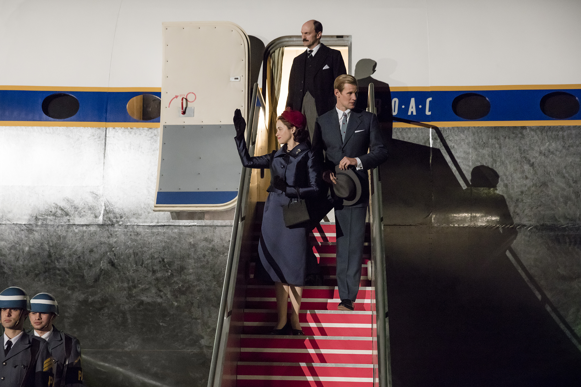 The Crown (L to R) Elizabeth, Adeane, Philip Elizabeth and Philip return from the world tour