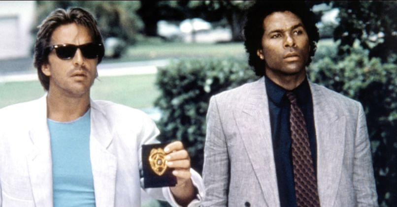 MIAMI VICE, (from left): Don Johnson, Philip Michael Thomas, 1984-1989. Credit: Universal Television/Everett Collection