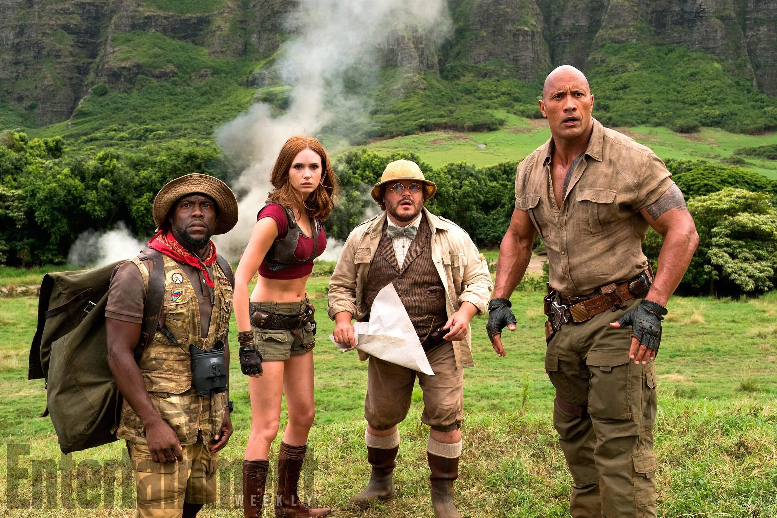 """Jumanji: Welcome to the Jungle (l to r) Kevin Hart (Franklin """"Moose"""" Finbar),  Karen Gillan (Ruby Roundhouse), Jack Black (Professor Shelly Oberon) and Dwayne Johnson (Dr. Smolder Bravestone)"""
