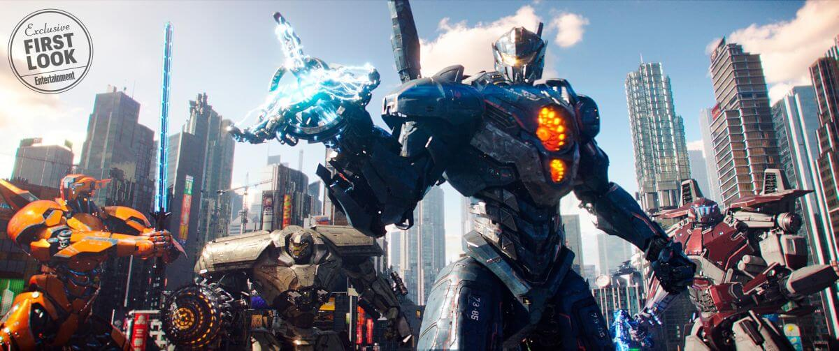 Pacific Rim Rising (2017)  (L to R, foreground) Jaeger mechs Saber Athena, Bracer Phoenix, Gipsy Avenger and Guardian Bravo i   Photo Credit: Legendary Pictures/Universal Pictures