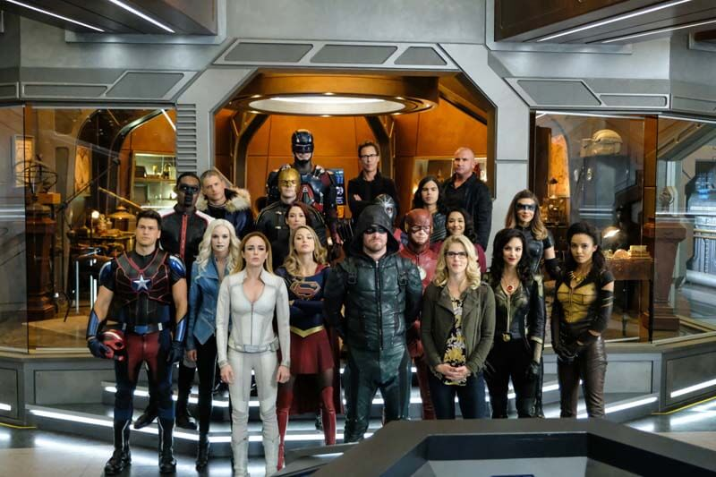"""DC's Legends of Tomorrow -- """"Crisis on Earth -- X, Part 4"""" -- Image Number: LGN308b_0041b.jpg -- Pictured (L-R) (TOP): Brandon Routh as Ray Palmer/Atom, Tom Cavanagh as Harrison Wells and Dominic Purcell as Mick Rory/Heat Wave (MIDDLE): Echo Kellum as Curtis Holt/Mr.Terrific, Wentworth Miller as Citizen Cold/Leo - X, Russell Tovey as The Ray/Ray Terrill, Chyler Leigh as Alex Danvers, Rick Gonzalez as Rene Ramirez/Wild Dog, Carlos Valdes as Cisco Ramon/Vibe, Candice Patton as Iris West and Juliana Harkavy as Dinah Drake/ Black Canary (BOTTOM): Nick Zano as Nate Heywood/Steel, Danielle Panabaker as Caitlin Snow/Killer Frost, Caity Lotz as Sara Lance/White Canary, Melissa Benoist as Kara/Supergirl, Stephen Amell as Oliver Queen/Green Arrow, Grant Gustin as Barry Allen The Flash, Emily Bett Rickards as Felicity Smoak, Tala Ashe as Zari Tomez and Maisie Richardson- Sellers as Amaya Jiwe/Vixen -- Photo: Robert Falconer/The CW -- © 2017 The CW Network, LLC. All Rights Reserved."""