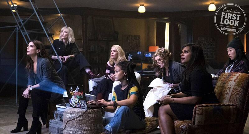 Oceans 8 (L-R) SANDRA BULLOCK as Debbie, CATE BLANCHETT as Lou, SARAH PAULSON as Tammy, RIHANNA as Nine Ball, HELENA BONHAM CARTER as Rose, MINDY KALING as Amita and AWKWAFINA as Constance