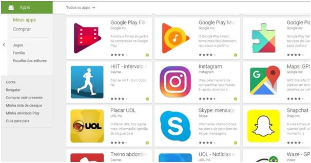 Aplicativos recomendados pela Play Store