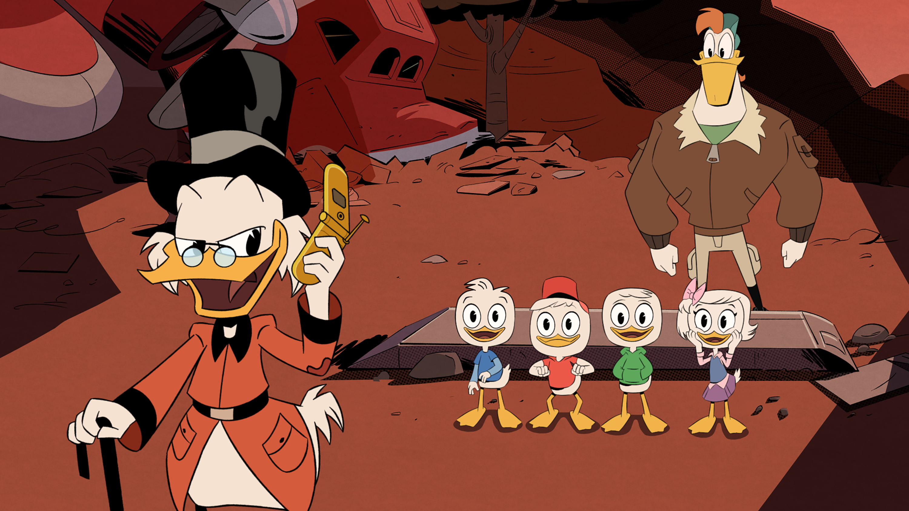 """DUCKTALES Ð """"Woo-oo!"""" - Donald Duck reluctantly takes his nephews Huey, Dewey and Louie to the home of their reclusive great-uncle Scrooge McDuck. Enthralled by their once legendary great-uncle and the wonder of McDuck Manor, the triplets and their newfound fierce friend Webby learn of long-kept family secrets and unleash totems from ScroogeÕs epic past, sending the family on an adventure of a lifetime to the Lost City of Atlantis. """"DuckTales"""" premieres in a one-hour television movie to be presented for 24 consecutive hours, SATURDAY, AUGUST 12 (beginning at midnight EDT/PDT), on Disney XD. (Disney XD) SCROOGE MCDUCK, DEWEY, HUEY, LOUIE, WEBBY VANDERQUACK, LAUNCHPAD MCQUACK"""