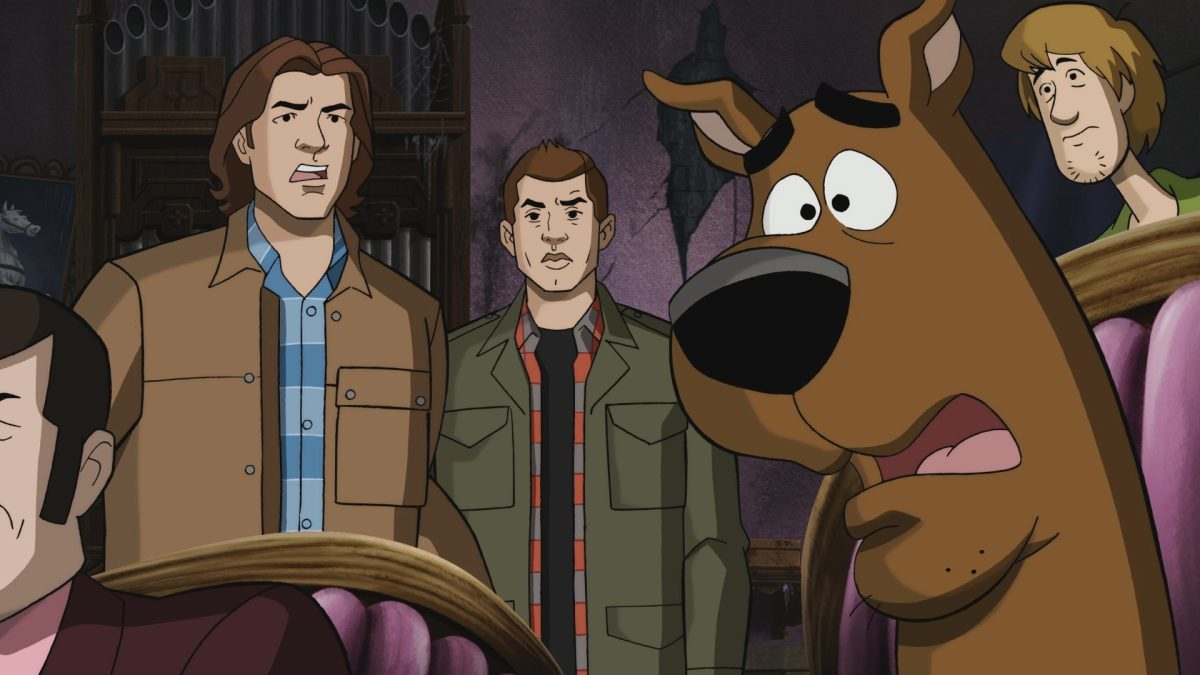 "Supernatural -- ""ScoobyNatural"" -- Image Number: SN1316c_0007.jpg -- Pictured (L-R): Sam, Dean, Scooby and Shaggy -- Photo: The CW -- © 2018 Warner Bros. Entertainment Inc."