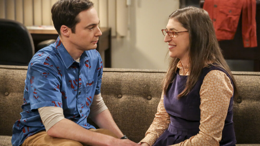 """""""The Proposal Proposal"""" -- Pictured: Sheldon Cooper (Jim Parsons) and Amy Farrah Fowler (Mayim Bialik). Amy gives Sheldon an answer to his proposal while Howard and Bernadette struggle with some unexpected news, on the 11th season premiere of THE BIG BANG THEORY, Monday, Sept. 25 (8:00-8:31 PM, ET/PT), on the CBS Television Network. Photo: Michael Yarish/Warner Bros. Entertainment Inc. © 2016 WBEI. All rights reserved."""