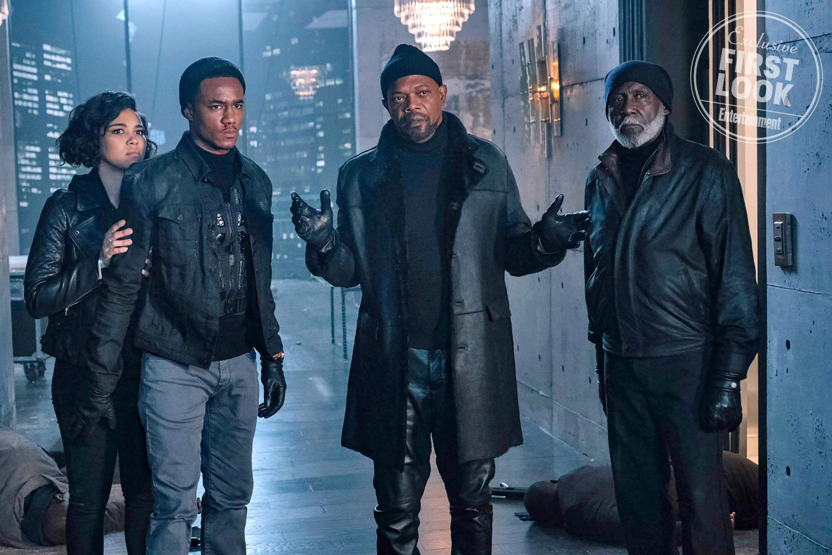 "Shaft (L-R) ALEXANDRA SHIPP as Sasha, JESSE USHER as John ""JJ"" Shaft, SAMUEL JACKSON as John Shaft and RICHARD ROUNDTREE as John Shaft, Sr."