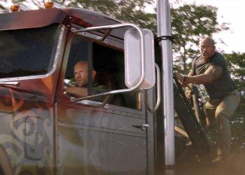 Deckard Shaw (Jason Statham) and Luke Hobbs (Dwayne Johnson) in Fast & Furious Presents: Hobbs & Shaw, directed by David Leitch.