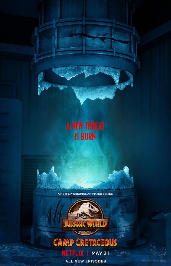 Cartaz da terceira temporada de Jurassic World: Acampamento Jurássico
