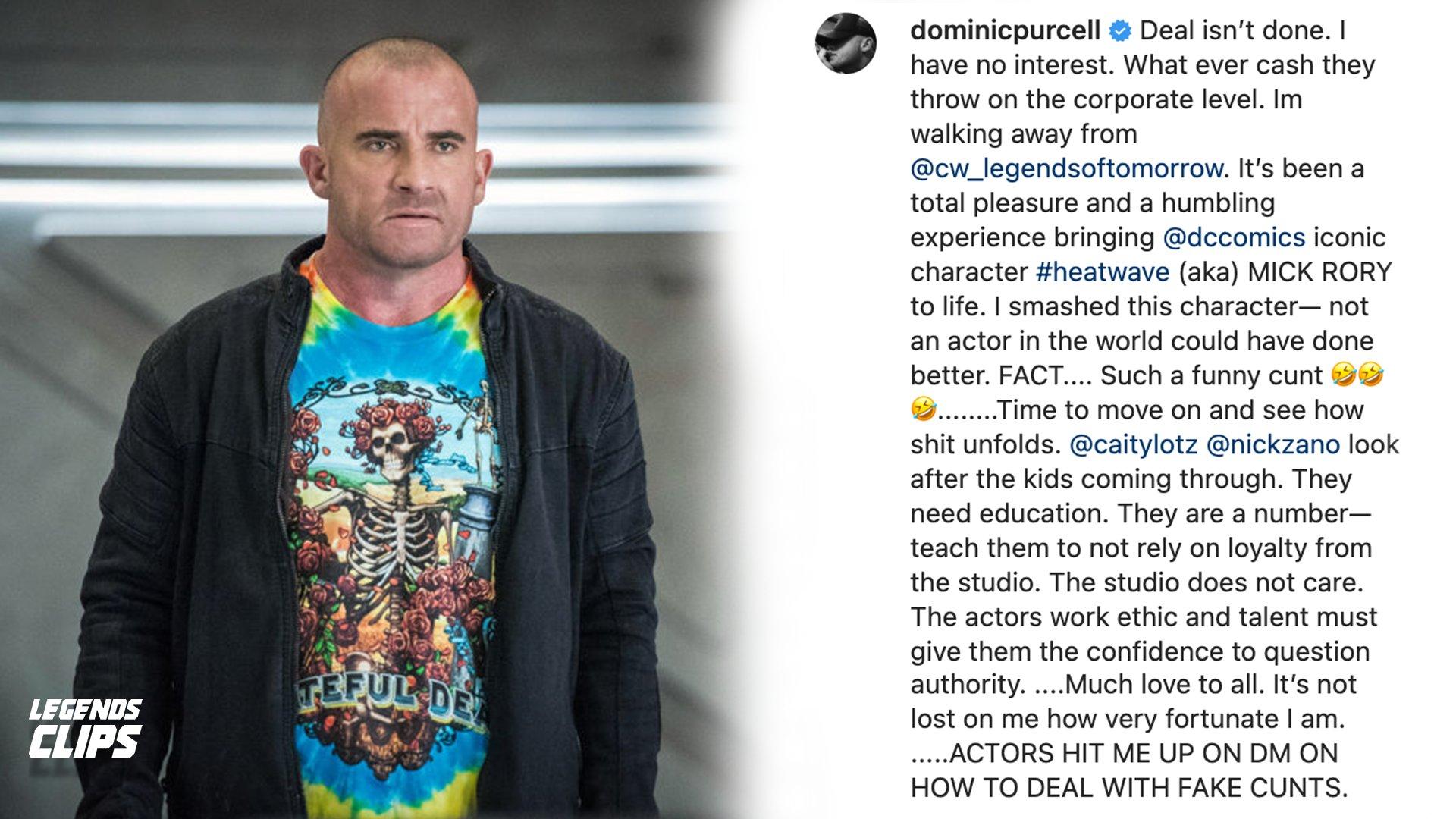 Publicação de Dominic Purcell de Legends of Tomorrow no Instagram