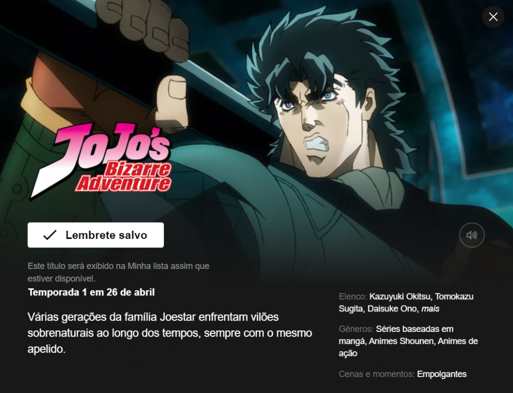 1ª temporada de JoJo's Bizarre Adventure ganha data de estreia na Netflix